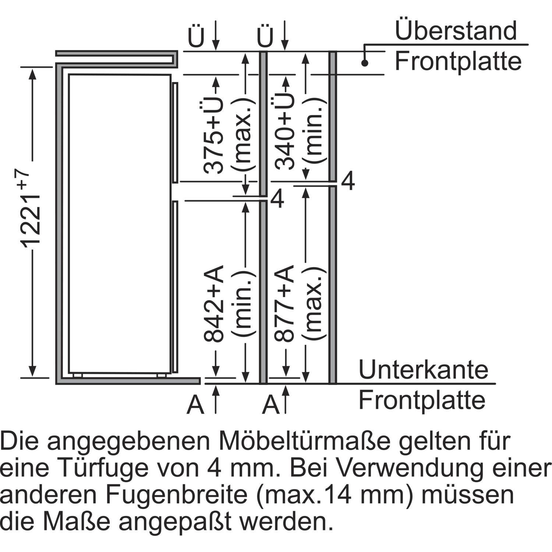 constructa k hl gefrierkombination ck64544 integrierbar 1225 mm. Black Bedroom Furniture Sets. Home Design Ideas