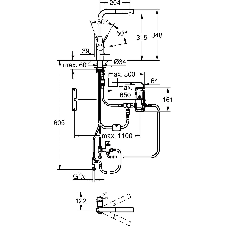 grohe k chenarmatur essence foot control druckfest edelstahl. Black Bedroom Furniture Sets. Home Design Ideas