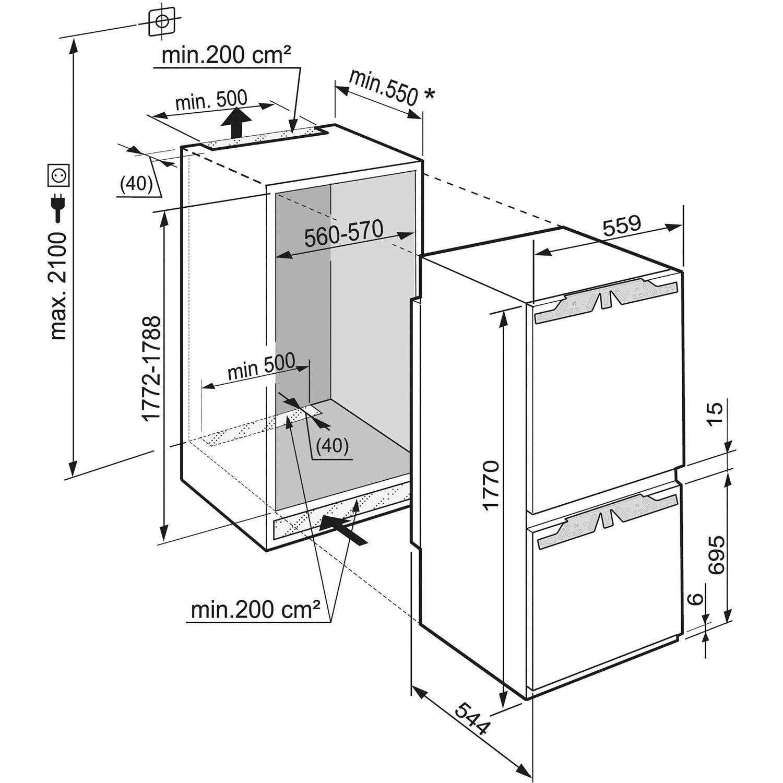 liebherr einbau k hl gefrierkombination icn 3386 nischenh he 178 cm. Black Bedroom Furniture Sets. Home Design Ideas