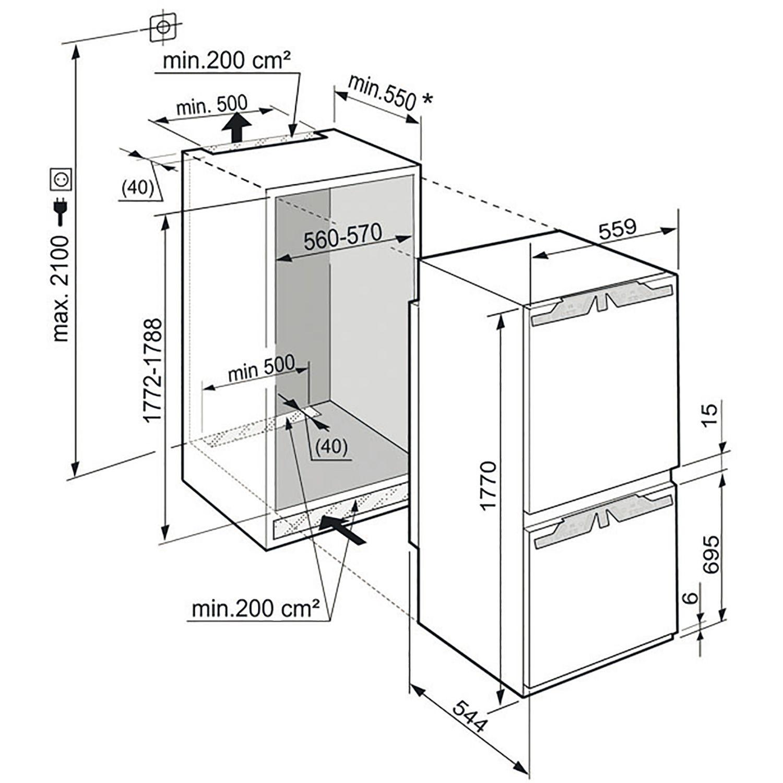 liebherr einbau k hl gefrierkombination icp 3334 nischenh he 178 cm. Black Bedroom Furniture Sets. Home Design Ideas