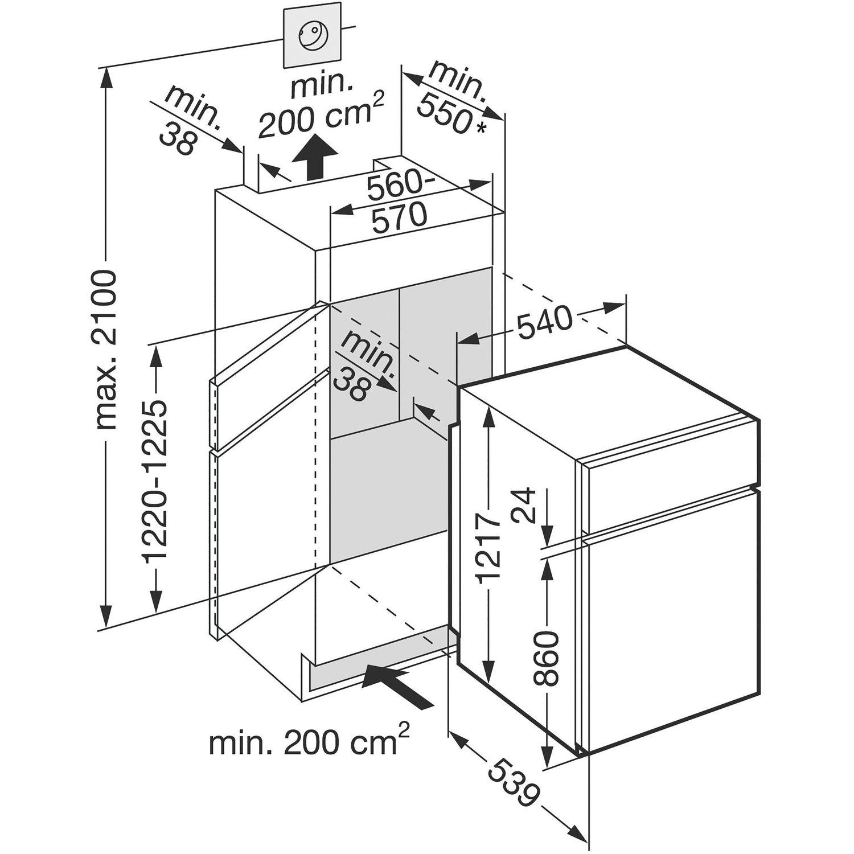liebherr einbau k hl gefrierkombination icts 2231 nischenh he 122 cm. Black Bedroom Furniture Sets. Home Design Ideas