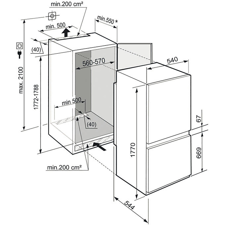 liebherr einbau k hl gefrierkombination icus 3324 nischenh he 178 cm. Black Bedroom Furniture Sets. Home Design Ideas