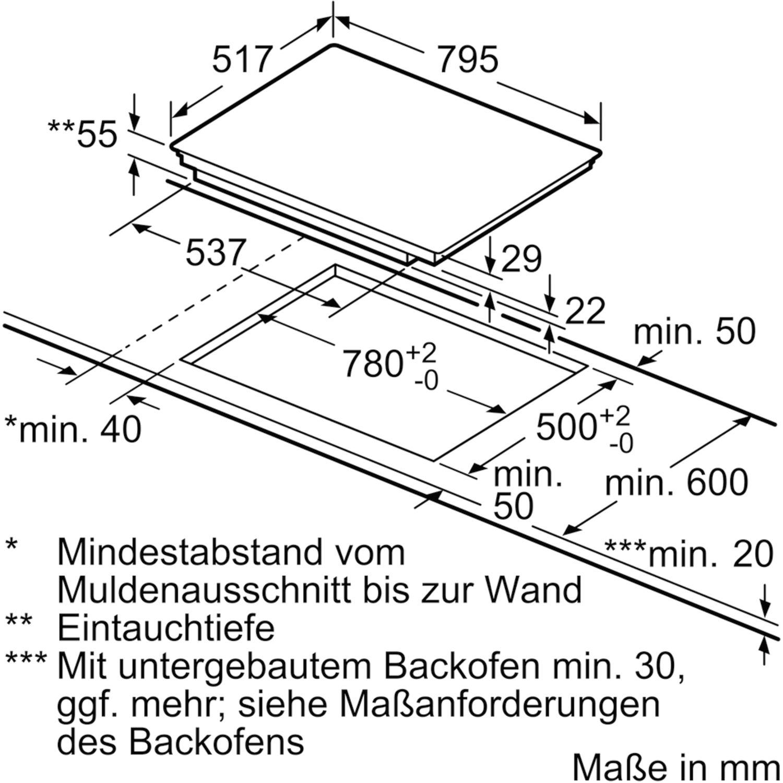 siemens kochfeld eh845fvb1e glaskeramik induktion autark 800 mm. Black Bedroom Furniture Sets. Home Design Ideas