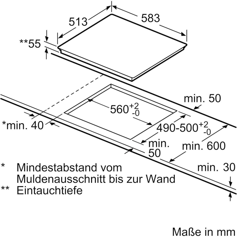 Siemens Kochfeld Ei645cfb1e Glaskeramik Induktion Zu Herd 600 Mm