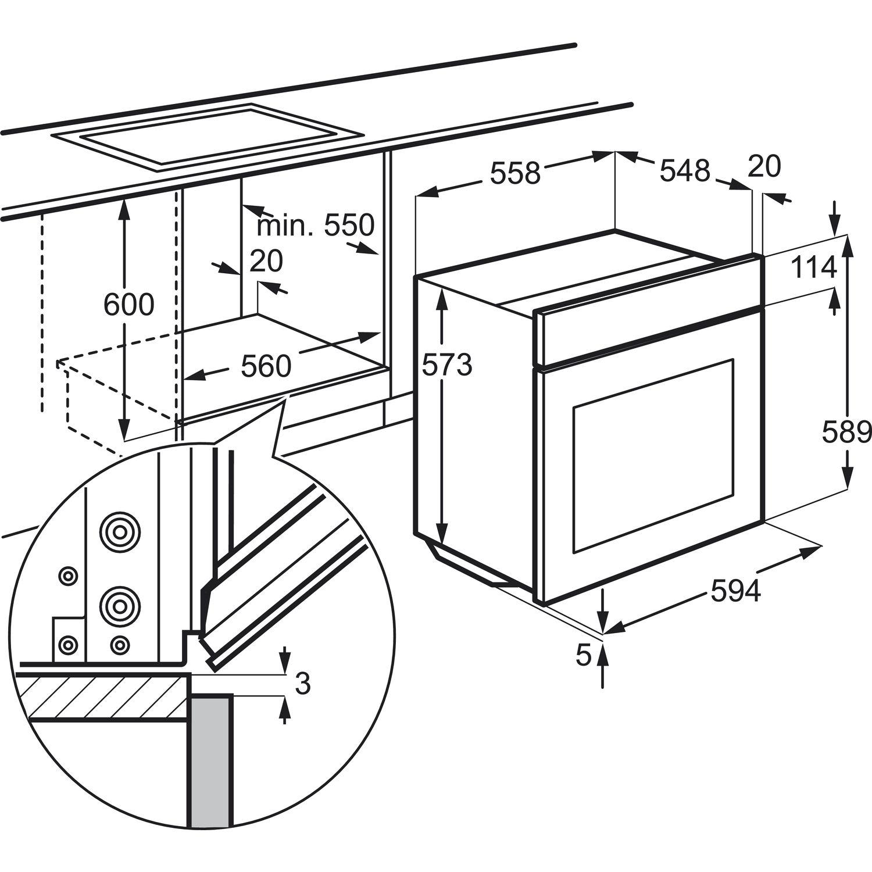 zanussi einbau herd zou 20311 xk edelstahl 60 cm breit. Black Bedroom Furniture Sets. Home Design Ideas