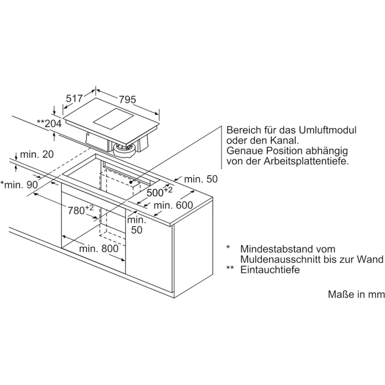 siemens kochfeld mit integriertem dunstabzug et845fm11e glaskeramik 800 mm. Black Bedroom Furniture Sets. Home Design Ideas