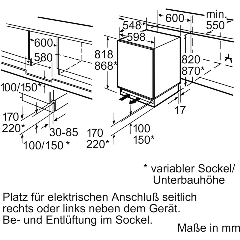 siemens unterbau k hlschrank ku15ra65 820 mm. Black Bedroom Furniture Sets. Home Design Ideas