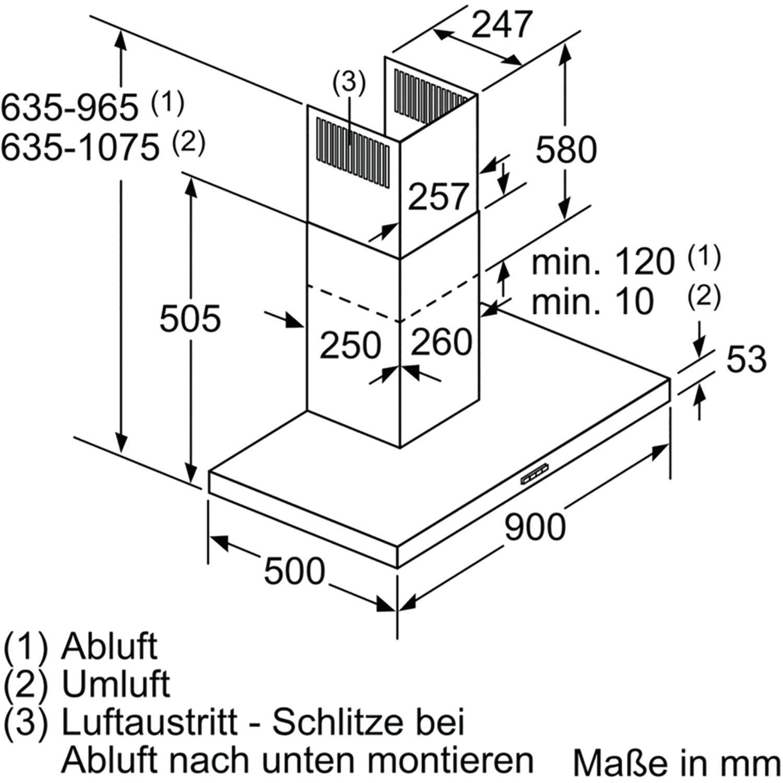 bosch wand-dunstabzugshaube dwb97fm50 edelstahl 900 mm