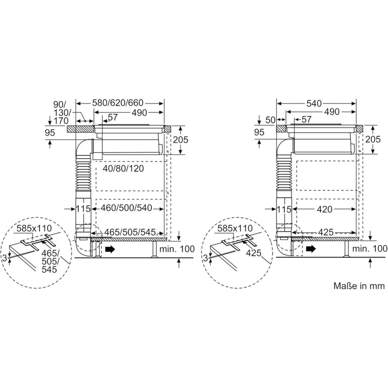 bosch kochfeld mit integriertem dunstabzug pvs845f11e umluft glaskeramik 800 mm. Black Bedroom Furniture Sets. Home Design Ideas