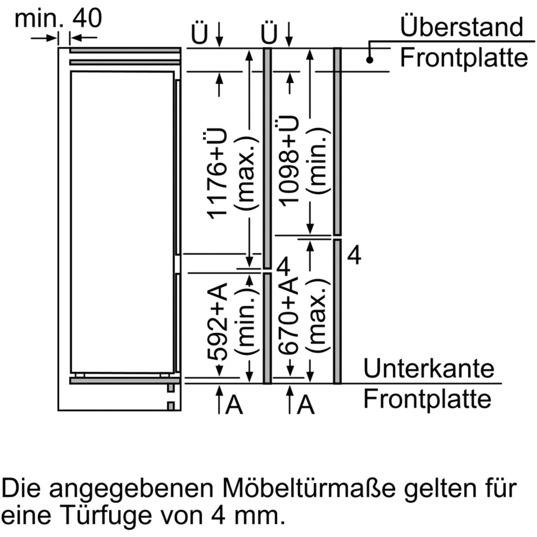 constructa k hl gefrierkombination ck587vs30 integrierbar 1780 mm. Black Bedroom Furniture Sets. Home Design Ideas