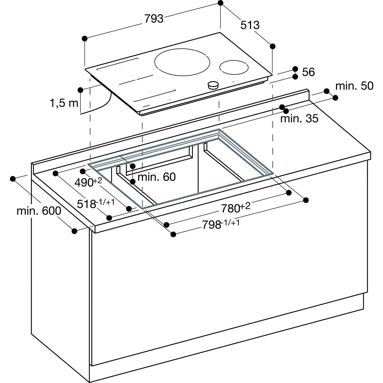 gaggenau autarkes induktions ceranfeld ci 282 100 fl chenb ndig 80 cm breit. Black Bedroom Furniture Sets. Home Design Ideas