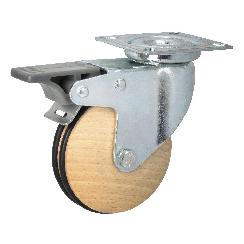lenkrolle geo holz 75 mm bauh he 101 mm buche ged mpft mit bremse. Black Bedroom Furniture Sets. Home Design Ideas