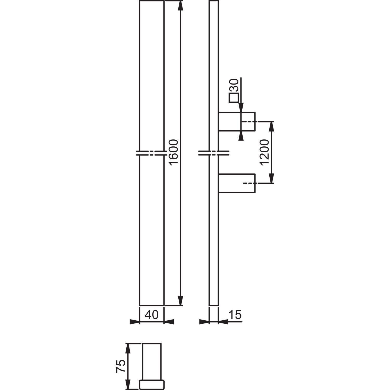Bügelgriffe E5726 1600//1200 rechteckig gerade Edelstahl rostfrei matt Hoppe