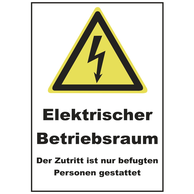Elektro-Warnschild 200 x 300 mm, Elektrischer Betriebsr. weiß/gelb ...