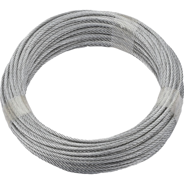 Ruck-Zuck Stahlseil 4mm, 6x7 + 1 FE verz. Ring 20m