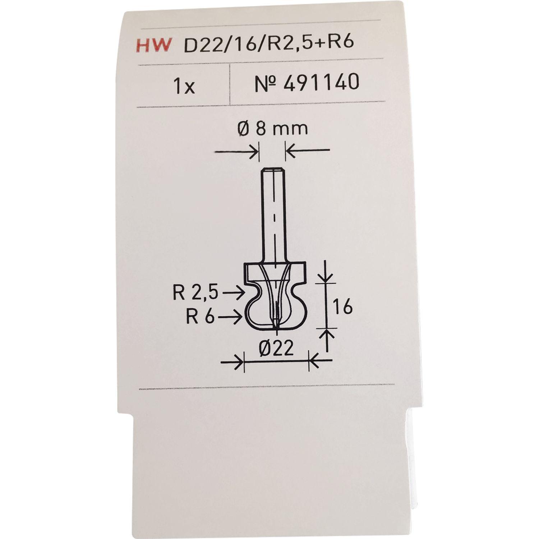 FESTOOL Griffleistenfräser HW Schaft 8 mm HW S8 D22//16//R2,5+6-491140