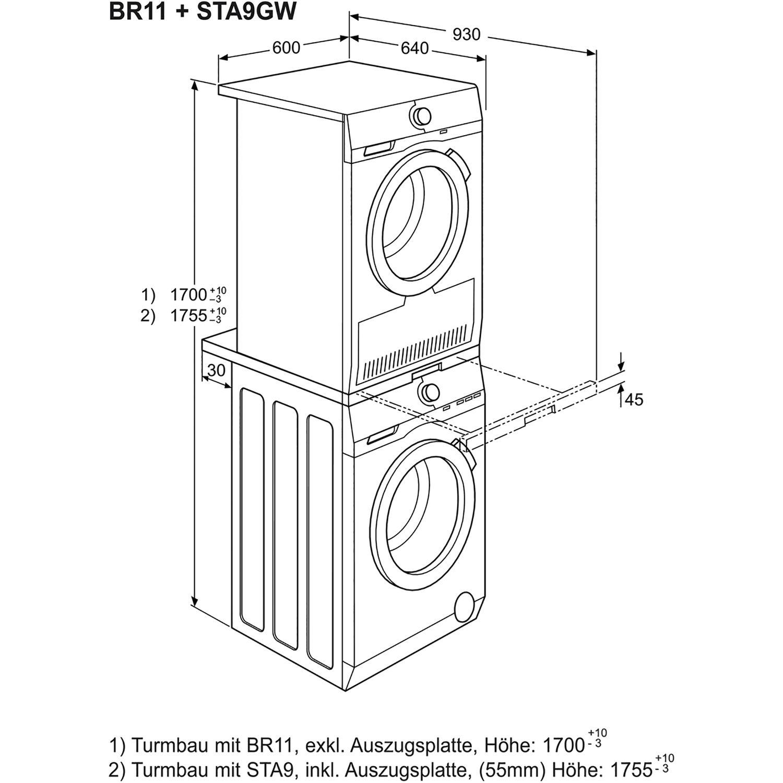 Turbo AEG Wäschepflege-Set L6FB54680 + T7DB60470 + BR11 PW58