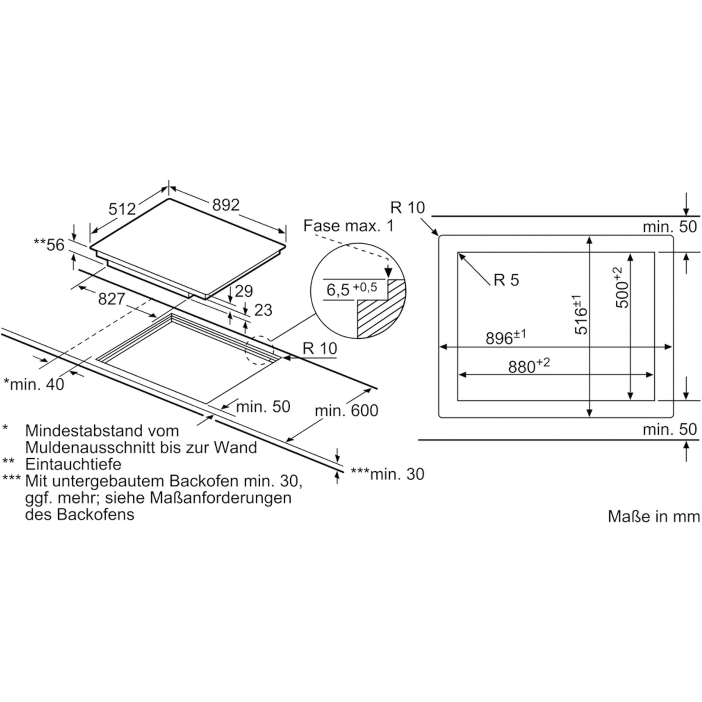 neff kochfeld tpf596tx glaskeramik induktion autark 900 mm. Black Bedroom Furniture Sets. Home Design Ideas