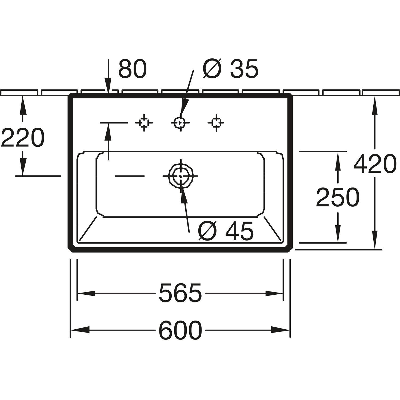 v b aufsatzwaschtisch memento wandmontage 600 mm wei alpin ceramicplus. Black Bedroom Furniture Sets. Home Design Ideas